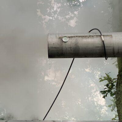 Rookgaskoeling van een pizza oven